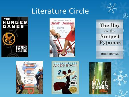 Literature Circle. Rank Your Selections  Rank the titles being discussed from 1-6  1 will be the title you want to read the most.  6 will be the title.