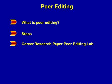 Peer Editing What is peer editing? Steps Career Research Paper Peer Editing Lab.