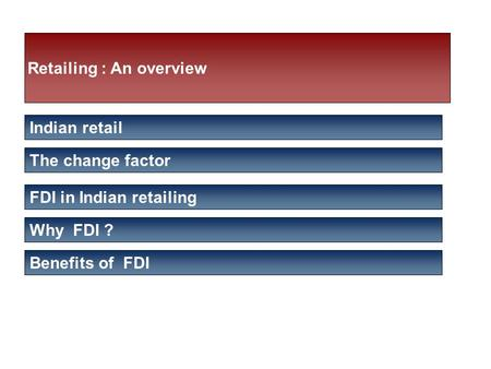 Retailing : An overview Indian retail The change factor FDI in Indian retailing Why FDI ? Benefits of FDI.