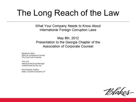 The Long Reach of the Law