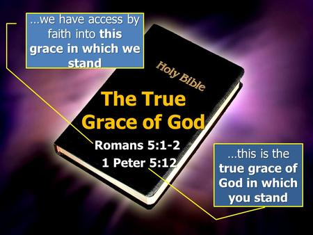 The True Grace of God Romans 5:1-2 1 Peter 5:12 1 Peter 5:12 …we have access by faith into this grace in which we stand …this is the true grace of God.