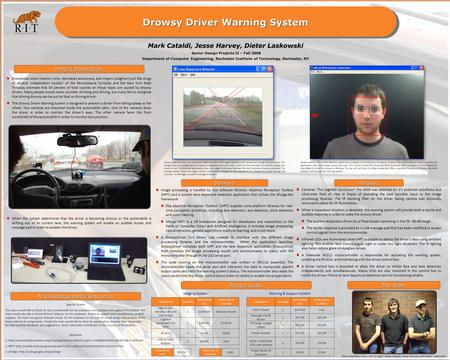 Drowsy Driver Warning System Project Description Special Thanks The team would like to thank Dr. Roy Czernikowski for his assistance and guidance throughout.