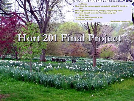 Hort 201 Final Project …to Nature, …to Nature, Here climb the vast pure spaces unconfined, uncheck'd, by wall or roof, roof, Here laugh with storm or sun,