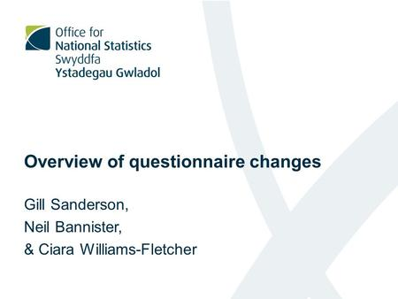 Overview of questionnaire changes Gill Sanderson, Neil Bannister, & Ciara Williams-Fletcher.