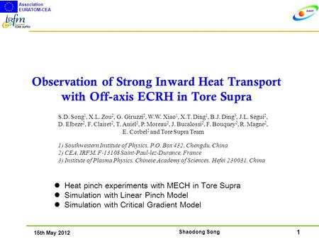 1 15th May 2012 Association EURATOM-CEA Shaodong Song Observation of Strong Inward Heat Transport with Off-axis ECRH in Tore Supra Heat pinch experiments.
