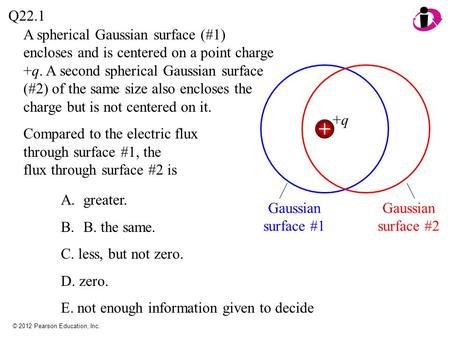 © 2012 Pearson Education, Inc. A spherical Gaussian surface (#1) encloses and is centered on a point charge +q. A second spherical Gaussian surface (#2)