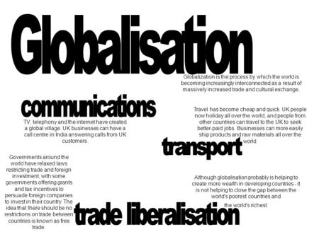 Globalisation communications transport trade liberalisation