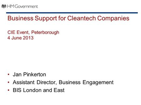Business Support for Cleantech Companies CIE Event, Peterborough 4 June 2013 Jan Pinkerton Assistant Director, Business Engagement BIS London and East.