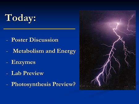 Today: -Poster Discussion - Metabolism and Energy -Enzymes -Lab Preview -Photosynthesis Preview?