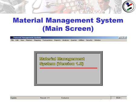Material Management System (Main Screen). Masters.