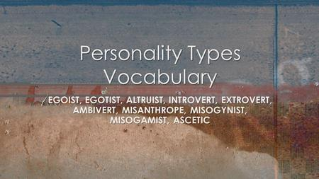 Personality Types Vocabulary