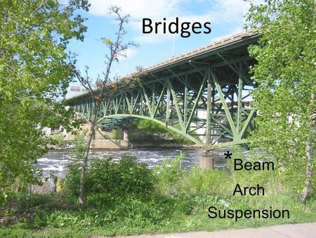 * Beam Arch Suspension Bridges. Beam *Arch Suspension.