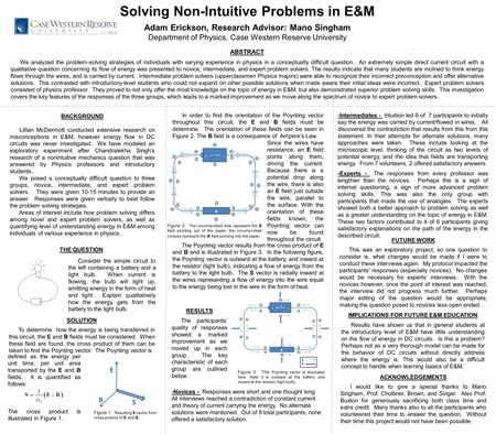 Solving Non-Intuitive Problems in E&M Adam Erickson, Research Advisor: Mano Singham Department of Physics, Case Western Reserve University ABSTRACT We.