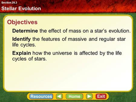 Objectives Determine the effect of mass on a star's evolution. Identify the features of massive and regular star life cycles. Explain how the universe.