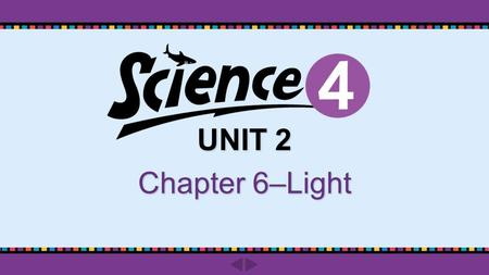 UNIT 2 Chapter 6–Light. Do you know? Chapter 6 ‒ Light pp. 114-115 What is a straight line of light called?What is a straight line of light called? What.