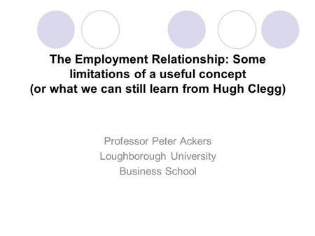 evolving employment relationship Ic boom, the new responsibility of employers is evolving in the following direction:   this shift in the employer-employee relationship has many facets it is.