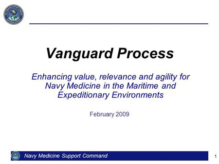 1 Vanguard Process Enhancing value, relevance and agility for Navy Medicine in the Maritime and Expeditionary Environments February 2009 Navy Medicine.