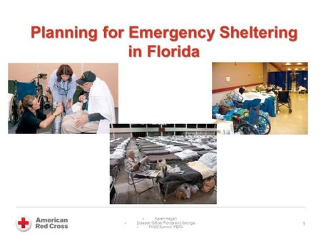 Planning for Emergency Sheltering in Florida 1  Karen Hagan  Disaster Officer Florida and Georgia  FNSS Summit: FEPA.