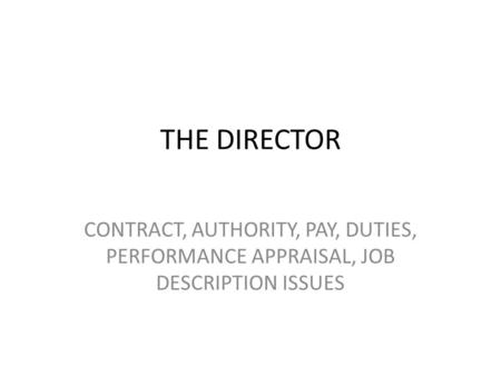 THE DIRECTOR CONTRACT, AUTHORITY, PAY, DUTIES, PERFORMANCE APPRAISAL, JOB DESCRIPTION ISSUES.