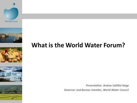 Presentation: Andras Szöllösi-Nagy Governor and Bureau member, World Water Council What is the World Water Forum?