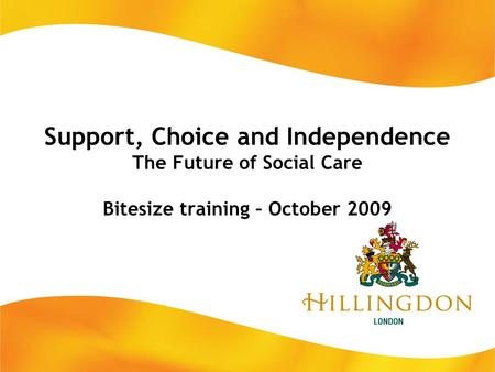 Support, Choice and Independence The Future of Social Care Bitesize training – October 2009.