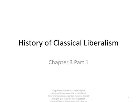 History of Classical Liberalism