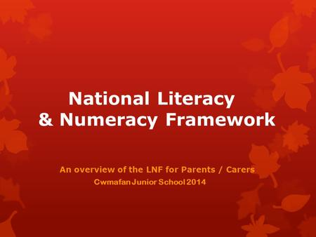 National Literacy & Numeracy Framework An overview of the LNF for Parents / Carers Cwmafan Junior School 2014.