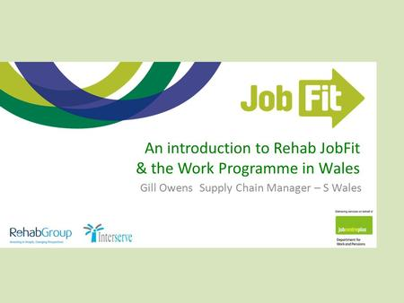 An introduction to Rehab JobFit & the Work Programme in Wales