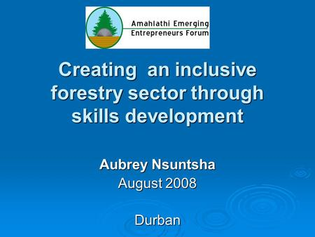 Creating an inclusive forestry sector through skills development Aubrey Nsuntsha August 2008 Durban.