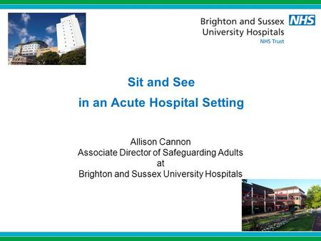 Sit and See in an Acute Hospital Setting Allison Cannon Associate Director of Safeguarding Adults at Brighton and Sussex University Hospitals.