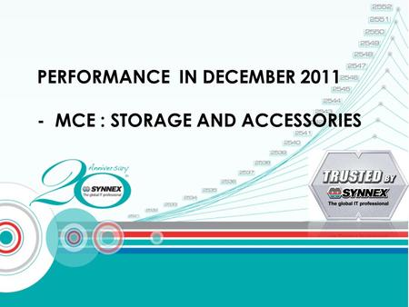 PERFORMANCE IN DECEMBER 2011 - MCE : STORAGE AND ACCESSORIES.