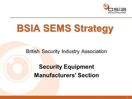 1 BSIA SEMS Strategy British Security Industry Association Security Equipment Manufacturers' Section.