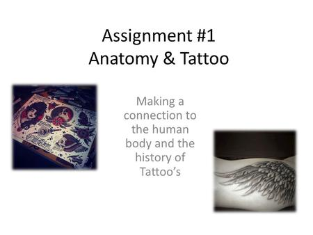 Assignment #1 Anatomy & Tattoo Making a connection to the human body and the history of Tattoo's.