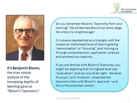 "It's Benjamin Bloom, the man whose analysis of the increasing depths of learning gave us ""Bloom's Taxonomy"". Do you remember Blooms' Taxonomy from your."