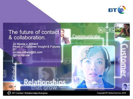 BT Contact. Relationships that grow The future of contact & collaboration. Dr Nicola J. Millard Head of Customer Insight & Futures BT