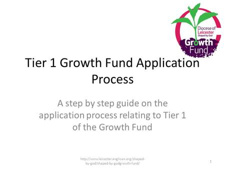 Tier 1 Growth Fund Application Process A step by step guide on the application process relating to Tier 1 of the Growth Fund