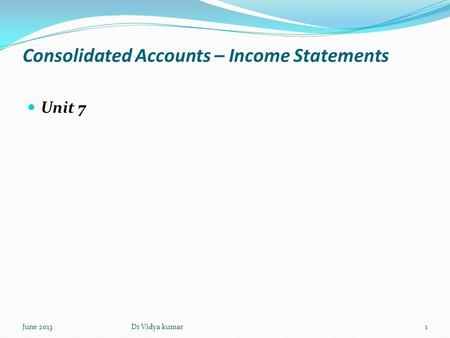 Consolidated Accounts – Income Statements