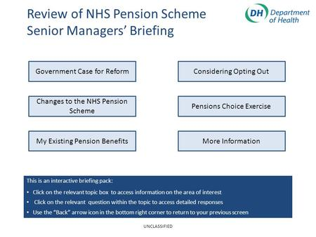 Review of NHS Pension Scheme Senior Managers' Briefing Changes to the NHS Pension Scheme My Existing Pension Benefits Government Case for ReformConsidering.