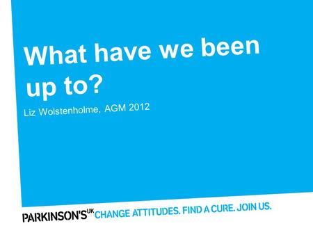 What have we been up to? Liz Wolstenholme, AGM 2012.