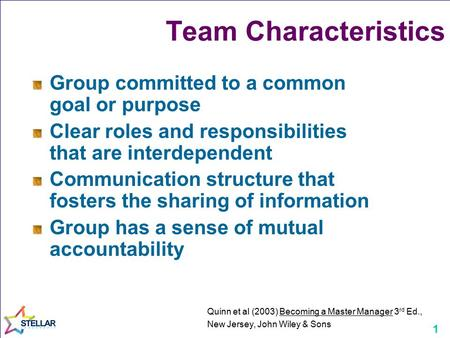 1 Team Characteristics Group committed to a common goal or purpose Clear roles and responsibilities that are interdependent Communication structure that.