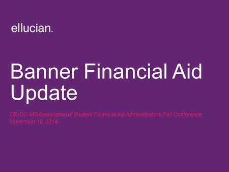 Banner Financial Aid Update