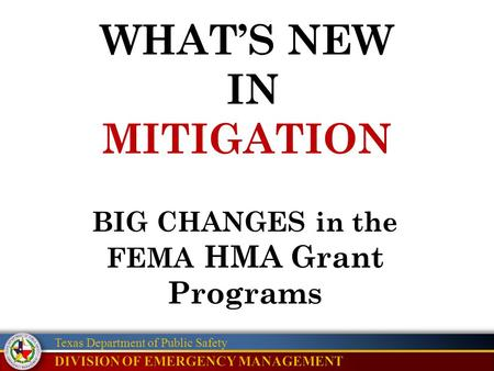 Texas Department of Public Safety WHAT'S NEW IN MITIGATION BIG CHANGES in the FEMA HMA Grant Programs.