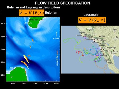 FLOW FIELD SPECIFICATION Eulerian and Lagrangian descriptions: Eulerian Lagrangian.
