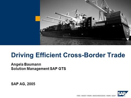 Driving Efficient Cross-Border Trade Angela Baumann Solution Management SAP GTS SAP AG, 2005.