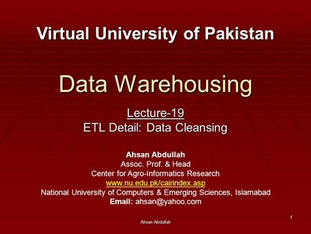 Lecture-19 ETL Detail: Data Cleansing