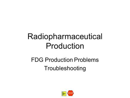 Radiopharmaceutical Production FDG Production Problems Troubleshooting STOP.