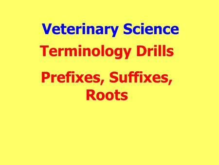 Veterinary Science Terminology Drills Prefixes, Suffixes, Roots.