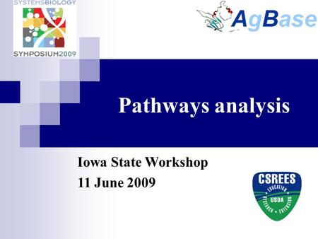 Pathways analysis Iowa State Workshop 11 June 2009.