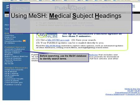 Using MeSH: Medical Subject Headings Before searching, use the MeSH database to identify search terms.