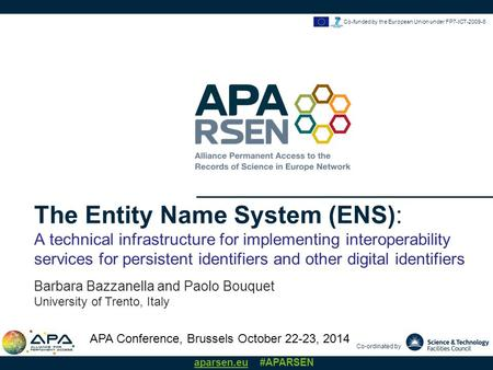 Co-ordinated by aparsen.eu #APARSEN Co-funded by the European Union under FP7-ICT-2009-6 The Entity Name System (ENS): A technical infrastructure for implementing.